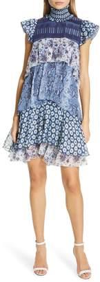 Diane von Furstenberg Matilda Pattern Mix Tiered Ruffle Silk Dress