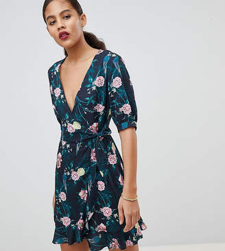 Fashion Union Tall Wrap Dress In Romantic Floral