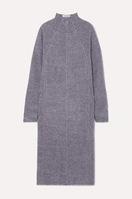Jil Sander Paneled Mélange Cashmere, Wool And Silk-blend Midi Dress - Dark gray