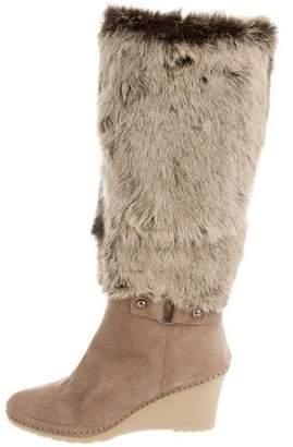 Bettye Muller Fur-Trimmed Wedge Boots