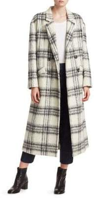 Cinq à Sept Maya Plaid Wool-Blend Boxy Coat