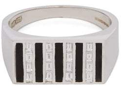 Biales - Diamond And Sterling Silver Block Signet Ring - Mens - Silver Multi