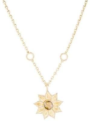 18K Diamond Sunflower Pendant Necklace