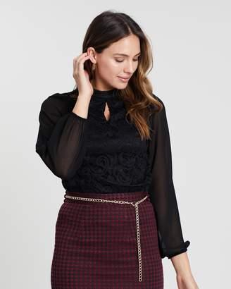 Dorothy Perkins Black Lace Chiffon Long Sleeve Top