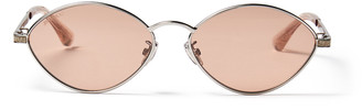 Jimmy Choo SONNY/S 58 Palladium Oval Sunglasses with Pink Silver Mirror Lenses