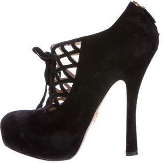 prada Prada Lace-Up Platform Booties