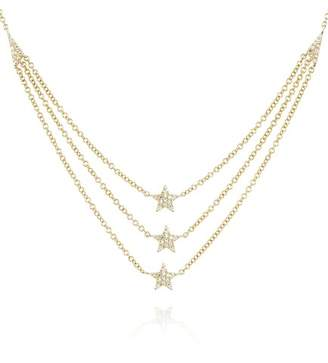 Ef Collection 14K Yellow Gold Diamond Star Triple Layer Necklace - 0.12 ctw