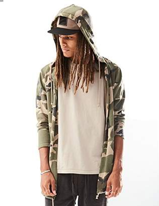 Rebel Canyon Young Men's Camo Open Front Longline Hoodie Sweatshirt Cardigan