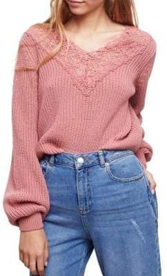 Miss Selfridge Crochet-Trimmed Sweater