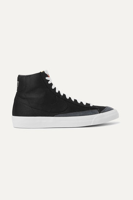 Nike Blazer Mid '77 Suede-trimmed Canvas High-top Sneakers - Black