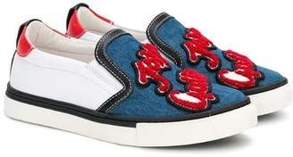 John Galliano denim panel logo patch sneakers
