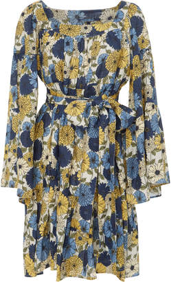 Lisa Marie Fernandez Belted Floral-Print Linen Dress