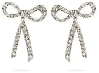 Oscar de la Renta Runway Pave Embellished Bow Earrings - Womens - Silver