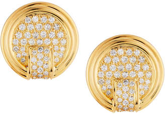 Diana M. Jewels 14k Gold Diamond Pave Disc Earrings