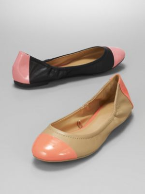 New York & Co. Faux Leather Neon Cap Flats
