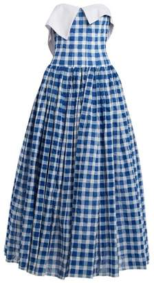 Natasha Zinko Strapless Gingham Cotton Seersucker Dress - Womens - Blue White