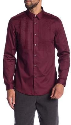 Paisley & Gray Maroon Sateen Tux Slim Fit Shirt