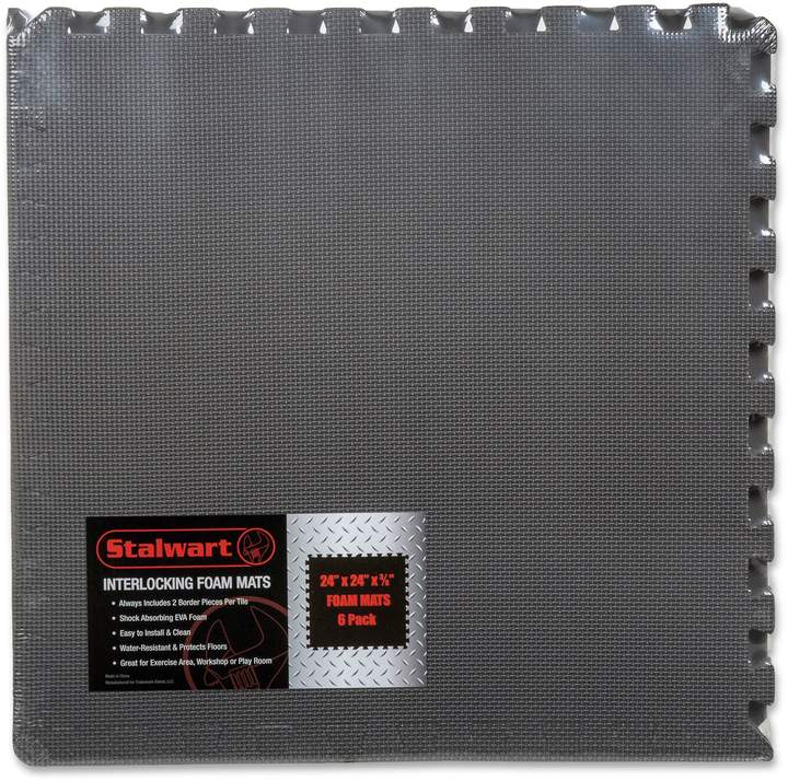 6-Piece Interlocking Foam Floor Mat in Grey