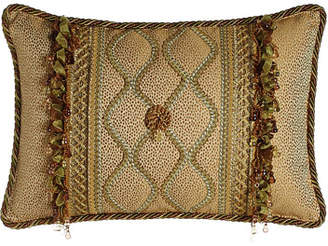 "Sweet Dreams Oblong Rosette Pillow with Gimp Accents & Ribbon & Bead Fringe, 14"" x 22"""