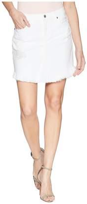 7 For All Mankind Skirt w/ Scallop Frayed Hem Destroy in White Fashion 3 Women's Skirt
