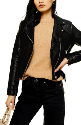 Topshop Kota Crop Faux Leather Jacket