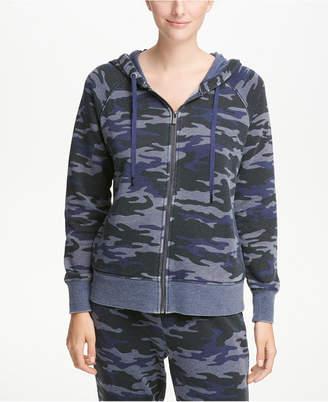 DKNY Sport Camo-Print Logo Fleece Zip Hoodie