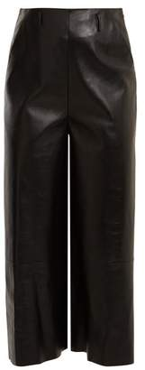 Lanvin High Rise Leather Culottes - Womens - Black
