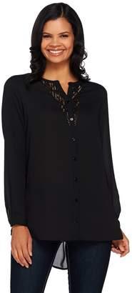 Susan Graver Artisan Feather Weave Fabric Shirt w/ Embellishment