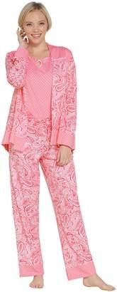 Carole Hochman Geo & Paisley Cotton Jersey 3-Piece PJ Set