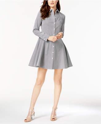 INC International Concepts I.N.C. Long-Sleeve Pinstripe Shirtdress, Created for Macy's