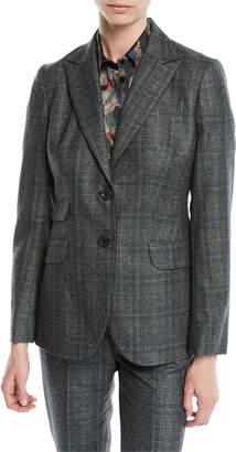 Kiton Two-Button Plaid Cashmere-Blend Jacket