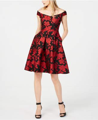 Calvin Klein Off-The-Shoulder Brocade Fit & Flare Dress