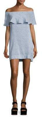 7 For All Mankind Chambray Off-the-Shoulder Dress $199 thestylecure.com
