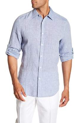 Perry Ellis Linen Button Tab Regular Fit Shirt