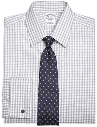 Brooks Brothers Regent Fitted Dress Shirt, French Cuff Heathered Gingham