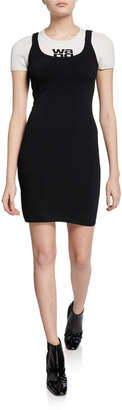 Alexander Wang Layered Open-Back Knitted Logo Fitted Dress