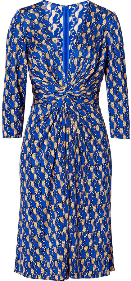 Issa Royal Blue and Nude Geometric Print Silk Jersey Dress
