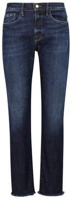 Frame Le Boy Dark Blue Frayed Jeans