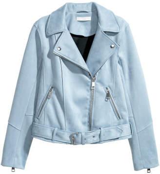 H&M Faux Suede Biker Jacket - Blue