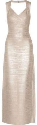 Herve Leger Estrella Open-Back Metallic Bandage Gown