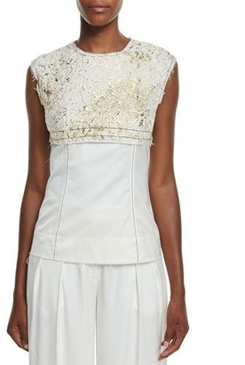 DKNY Sleeveless Foiled Lace Paneled Top, Gesso/Gold $358 thestylecure.com