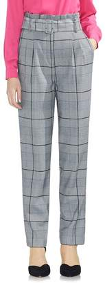 Vince Camuto Glen Plaid Paperbag Waist Slim Pants (Regular & Petite)