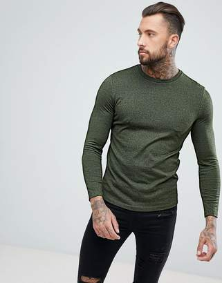 Asos DESIGN Long Sleeve T-Shirt In Heavy Twisted Jersey In Khaki