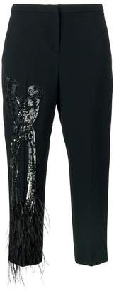 No.21 bird embellished crop trousers