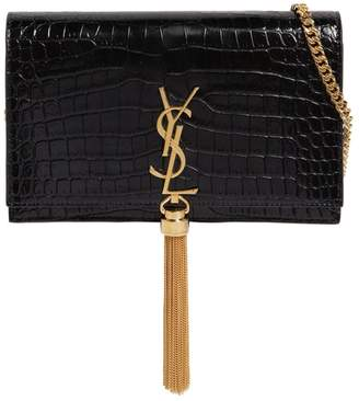 Saint Laurent Kate Monogram Croc Embossed Leather Bag