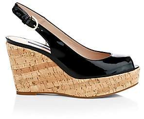 Stuart Weitzman Women's Jean Cork Wedge Slingback Sandals
