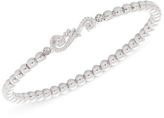 Wrapped Diamond Accent Swirl Stretch Bracelet in Sterling Silver, Created for Macy's