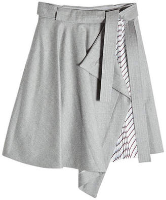 Carven Asymmetric Skirt with Pleated Insert
