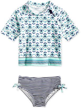 Carter's 2-Pc. Medallion-Print Rashguard Swimsuit, Toddler & Little Girls (2T-6X) $38 thestylecure.com