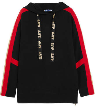 Sjyp Knitted Hooded Top - Black
